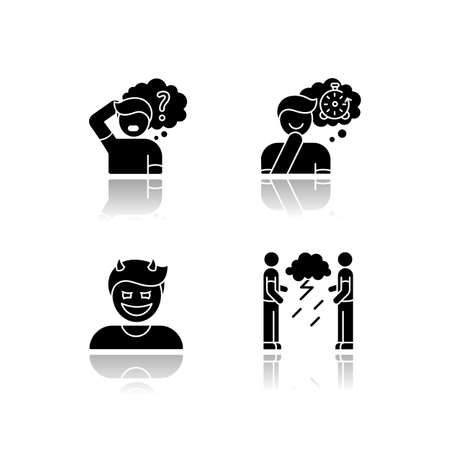 Human attitude drop shadow black glyph icons set. Man think in confusion. Person experience nostalgia. Evil gloat. Hostility and aggression attitude. Isolated vector illustrations on white space