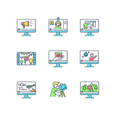 Videography RGB color icons set. Web conference. Internet blogging. Nature documentary film. Concert streaming. TV commercial. Isolated vector illustrations