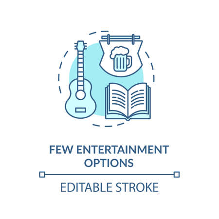 Few entertainment options turquoise concept icon. No music event. Leisure in pub. Village lifestyle disadvantage idea thin line illustration. Vector isolated outline RGB color drawing. Editable stroke