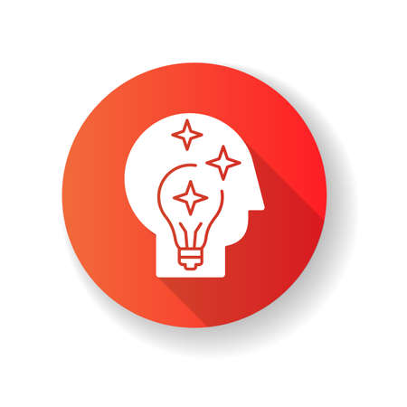 Idea generation red flat design long shadow glyph icon. Insight while brainstorming. Human head with innovative thought. Imagination for project development. Silhouette RGB color illustration Ilustracja