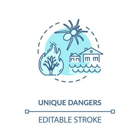 Unique dangers turquoise concept icon. Forest fire damage. Water flood in village. Poisonous bug. Country cataclysm idea thin line illustration. Vector isolated outline RGB color drawing