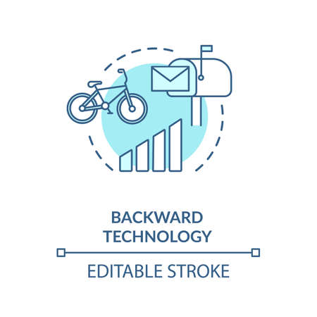 Backward technology turquoise concept icon. Country living disadvantage. Low quality transport. Village life idea thin line illustration. Vector isolated outline RGB color drawing. Editable stroke