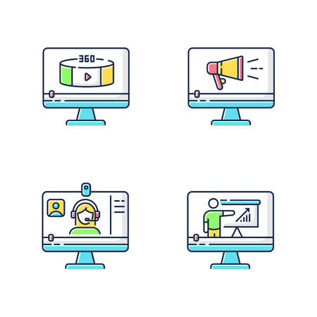Internet video RGB color icons set. Online lesson watching. Web conference. 360 degree view footage. TV commercial. Isolated vector illustrations Vektorové ilustrace