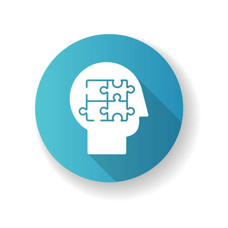 Elaboration blue flat design long shadow glyph icon. Puzzled mind. Logical mindset. Counseling for psychological problem. Human memory. Therapy for mental health. Silhouette RGB color illustration
