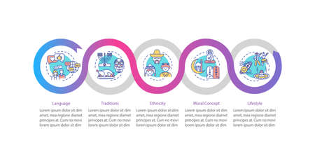 Cultural diversity vector infographic template. National tradition presentation design elements. Data visualization with 5 steps. Process timeline chart. Workflow layout with linear icons Vectores