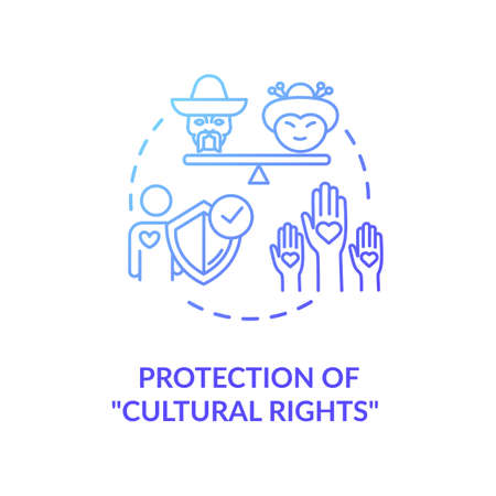 Protection of cultural rights blue gradient concept icon. Multi ethnic empowerment. Social unity. Racial equality idea thin line illustration. Vector isolated outline RGB color drawing