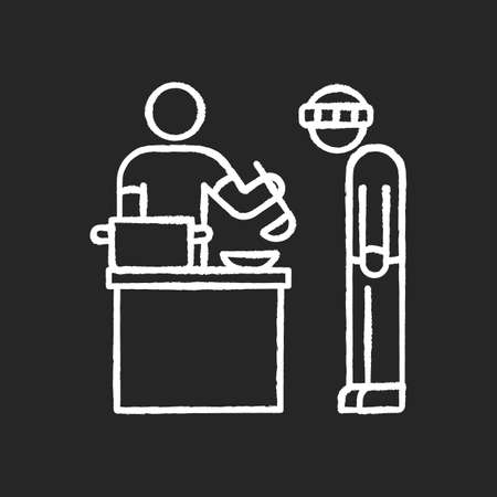 Food bank chalk white icon on black background. Humanitarian aid to homeless people. Volunteer to work at social service program. Giving food to poor person. Isolated vector chalkboard illustration Illustration