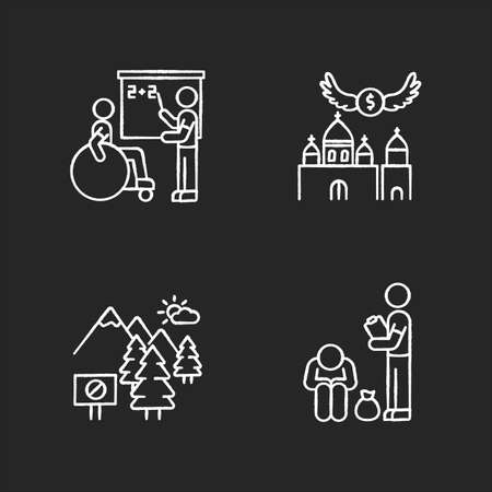 Social service chalk white icons set on black background. Inclusive education. Donation to christian church. National park. Homeless help. Preserve nature. Isolated vector chalkboard illustrations