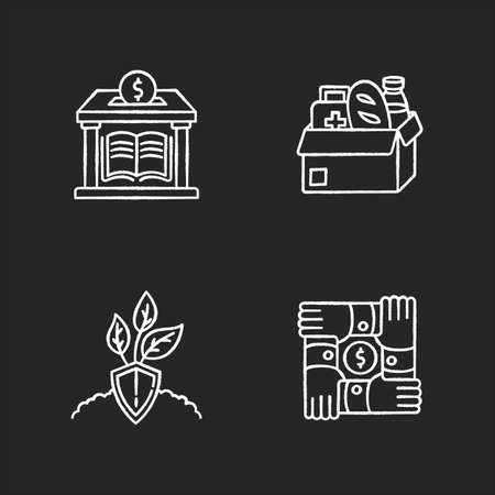 Activism chalk white icons set on black background. Humanitarian aid. Nature protection. Environment conservation. Community foundation. Social service. Isolated vector chalkboard illustrations