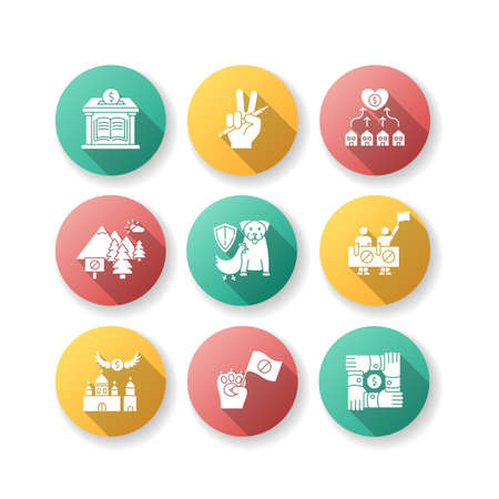 Community support flat design long shadow glyph icons set. Public strike. Money donation to library. Support free education. Protect wildlife, animal right. Silhouette RGB color illustration