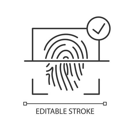 Finger print scanner pixel perfect linear icon. User identification. Electronic access. Thin line customizable illustration. Contour symbol. Vector isolated outline drawing. Editable stroke