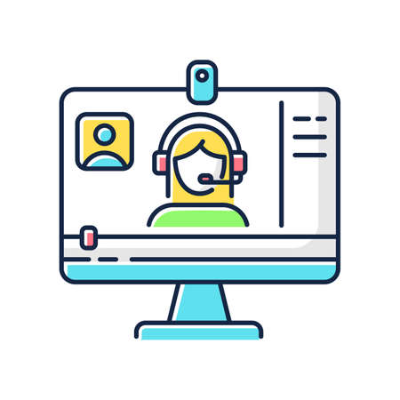 Webinar RGB color icon. Internet video. Blogger streaming. Digital content. Online courses watching. Distance learning lesson. Isolated vector illustration