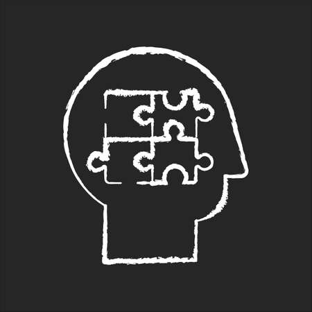 Elaboration chalk white icon on black background. Puzzled mind. Logical mindset. Analysis for smart solution. Human memory. Therapy for mental health. Isolated vector chalkboard illustration Ilustracja