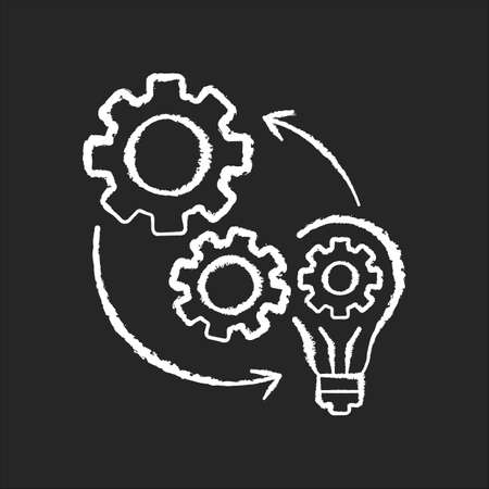 Implementation chalk white icon on black background. Optimization of mechanical production process. Connection of cog wheel in machine. Smart management. Isolated vector chalkboard illustration