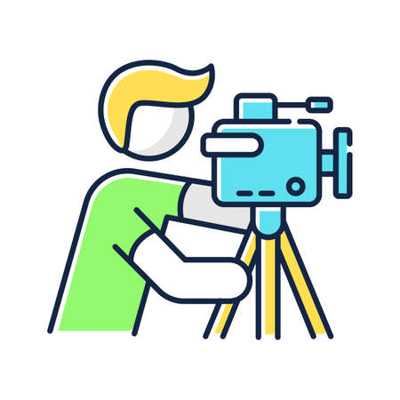 Cameraman RGB color icon. Filmmaking and videography. Cinematography industry. Professional camera operator. Movie shooting. Isolated vector illustration Vektorové ilustrace