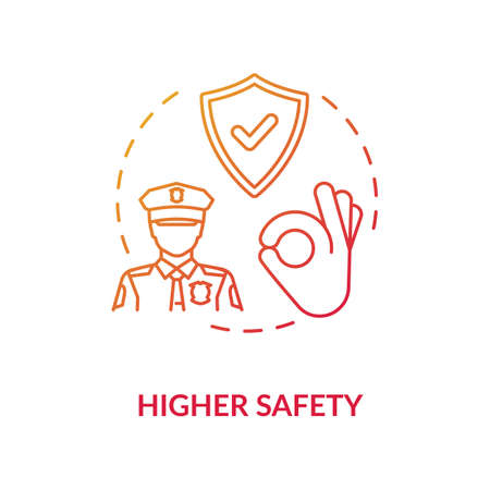 Higher safety red concept icon. Privacy safety. Reliable guard and police man. Life assurance and insurance. Protection idea thin line illustration. Vector isolated outline RGB color drawing