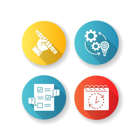 Technical project flat design long shadow glyph icons set. Research for report. Implementation of workflow. Improvement and development process. Creative approach. Silhouette RGB color illustration