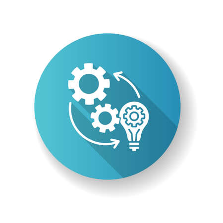 Implementation blue flat design long shadow glyph icon. Optimization of mechanical production process. Connection of cog wheel in machine. Smart management. Silhouette RGB color illustration