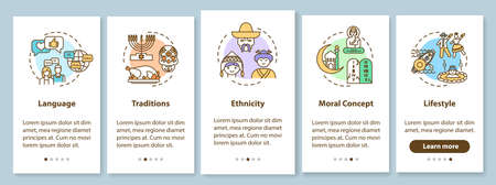 Multiculturalism onboarding mobile app page screen with concepts. Global cultural heritage walkthrough 5 steps graphic instructions. UI vector template with RGB color illustrations