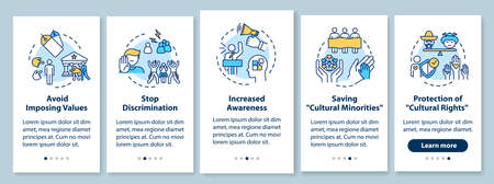 Stop discrimination onboarding mobile app page screen with concepts. Multiculturalism appreciation walkthrough 5 steps graphic instructions. UI vector template with RGB color illustrations