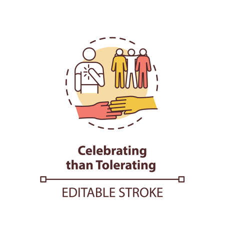 Celebrating than tolerating concept icon. Multinational inclusive community. Racial equality. Cultural diversity idea thin line illustration. Vector isolated outline RGB color drawing. Editable stroke