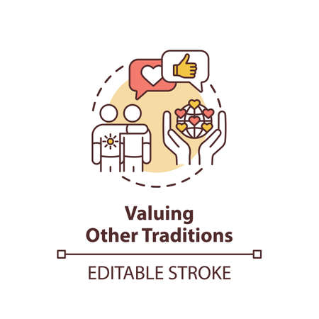 Valuing other tradition concept icon. Multinational communication. Interracial companionship. Cultural diversity idea thin line illustration. Vector isolated outline RGB color drawing. Editable stroke Ilustracja