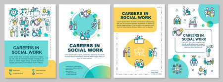 Career in social work brochure template. Employee for public work. Flyer, booklet, leaflet print, cover design with linear icons. Vector layouts for magazines, annual reports, advertising posters