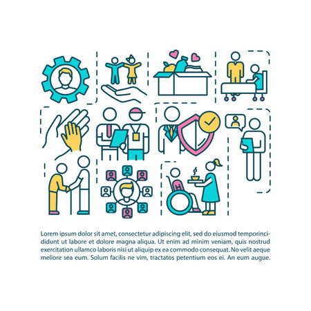 Social welfare employment concept icon with text. Assistant for people in need. Nursing home. PPT page vector template. Brochure, magazine, booklet design element with linear illustrations Vecteurs
