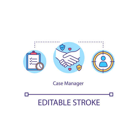 Case manager concept icon. Help with recruitment. Support for client. Job interview. Social worker support idea thin line illustration. Vector isolated outline RGB color drawing. Editable stroke