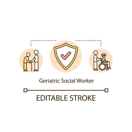 Geriatric social worker concept icon. Support for retired senior person. Clinic employee. Nursing home idea thin line illustration. Vector isolated outline RGB color drawing. Editable stroke