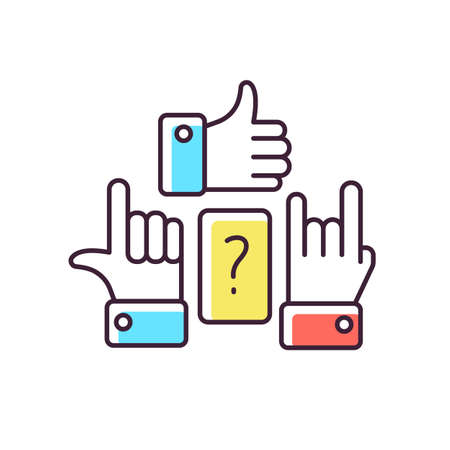 Charades RGB color icon. Traditional team play, party amusement. Recreational activity for friends and family. Question and hand signs isolated vector illustration