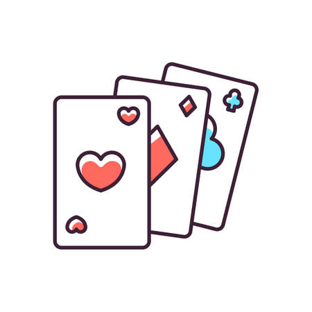 Card game RGB color icon. Traditional casino pastime, poker. Competitive gambling activity, risky table game. Cards of different suits isolated vector illustration