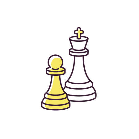 Chess RGB color icon. Traditional board game, intellectual activity. Professional sport, strategic tabletop game. King and pawn figures isolated vector illustration