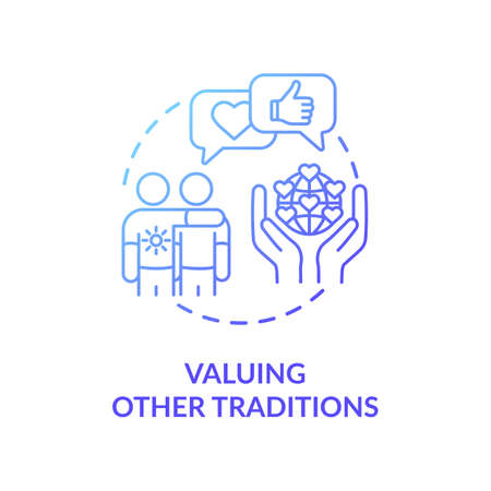 Valuing other tradition blue gradient concept icon. Multinational communication. Interracial companionship. Cultural diversity idea thin line illustration. Vector isolated outline RGB color drawing