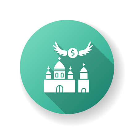 Church donation green flat design long shadow glyph icon. Charity for religious community. Contribution to christian congregation. Invest in chapel. Silhouette RGB color illustration