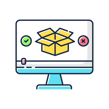 Product video RGB color icon. Parcel unboxing. Goods review. Box unpacking. Digital marketing content. Purchase feedback. Isolated vector illustration Vektorové ilustrace