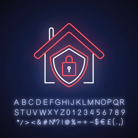 Smart home security system neon light icon. Modern house alarm. Building electronic lock. Outer glowing effect. Sign with alphabet, numbers and symbols. Vector isolated RGB color illustration