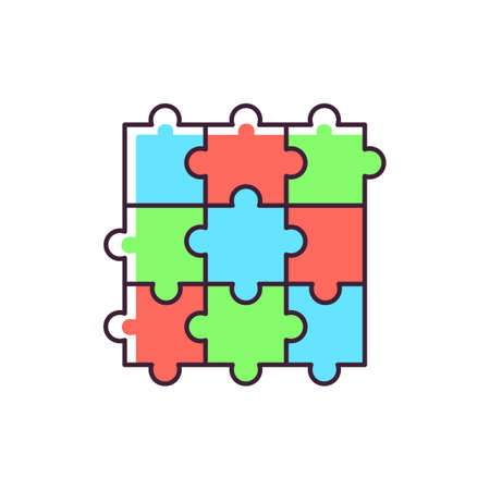 Jigsaw puzzle RGB color icon. Traditional intellectual pastime, educational leisure game. Recreational activity. Combined puzzle pieces isolated vector illustration