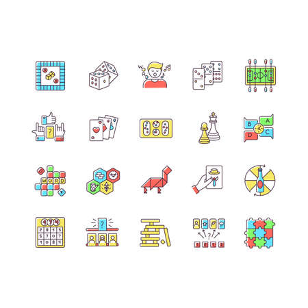 Table games RGB color icons set. Amusing and educational games, entertaining pastime. Traditional fun time, party night activities. Isolated vector illustrations