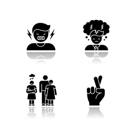 Psychological problem drop shadow black glyph icons set. Man scream from hatred. Suffering from mental illness. Hope and belief. Psychological help. Isolated vector illustrations on white space Illustration