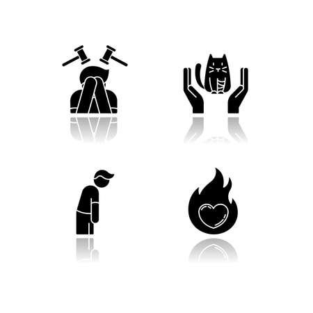 Human emotion drop shadow black glyph icons set. Remorse for psychological healing. Mental state. Feeling of pity and empathy. Frustration from depression. Isolated vector illustrations on white space Vectores