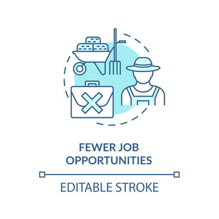 Fewer job opportunities turquoise concept icon. Unemployment in village. Farmer work. Country living idea thin line illustration. Vector isolated outline RGB color drawing. Editable stroke
