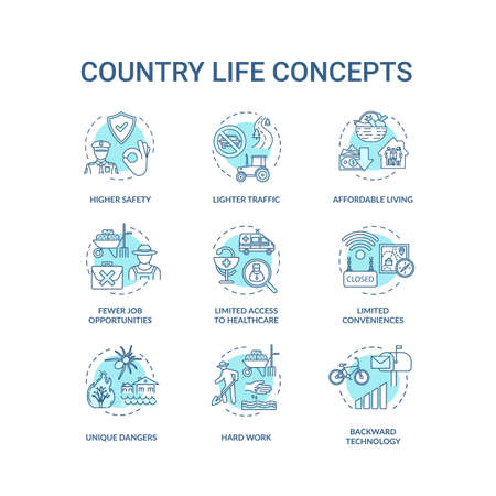 Country life turquoise turquoise concept icons set. Advantage and disadvantage of farming. Village living idea thin line RGB color illustrations. Vector isolated outline drawings. Editable stroke