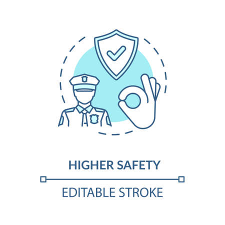 Higher safety turquoise concept icon. Privacy safety. Reliable guard and police man. Life assurance. Protection idea thin line illustration. Vector isolated outline RGB color drawing. Editable stroke