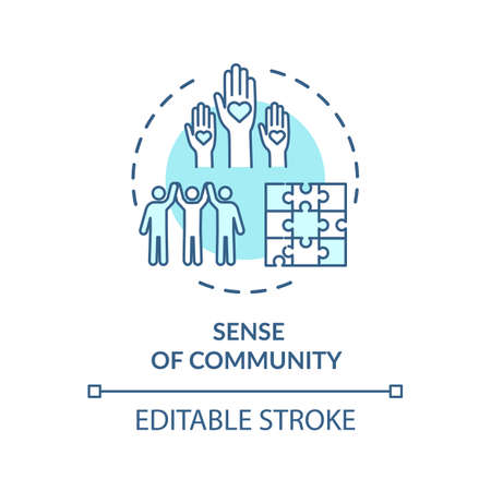 Sense of community turquoise concept icon. Diverse people. Society support. Multicultural group unity idea thin line illustration. Vector isolated outline RGB color drawing. Editable stroke