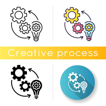 Implementation icon. Technical development. Optimization of mechanical production process. Connection of cog wheel in machine. Linear black and RGB color styles. Isolated vector illustrations
