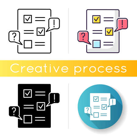 Edit icon. Checklist for draft. Examine paperwork for errors. Incorrect work. Productivity review. Mark message. Grammar correction. Linear black and RGB color styles. Isolated vector illustrations