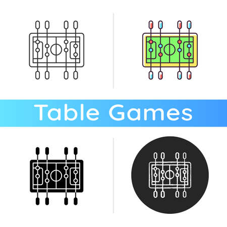 Table soccer icon. Traditional friendly party recreational activity. Linear black and RGB color styles. Competitive bar, pub game. Miniature football table isolated vector illustrations