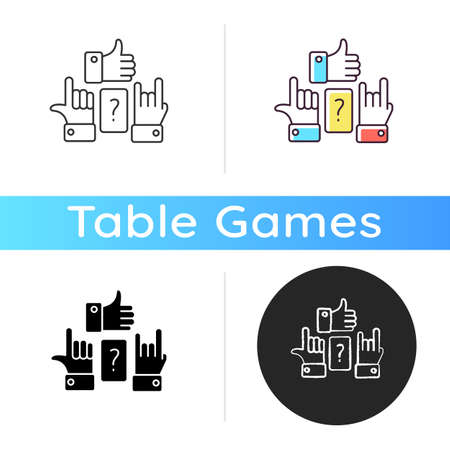 Charades icon. Traditional team play, party amusement. Linear black and RGB color styles. Recreational activity for friends and family. Question and hand signs isolated vector illustrations