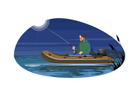 Man with rod in boat semi flat vector illustration. Fisherman lure fish during night. Speed engine inflatable sailboat in freshwater. Summer recreation 2D cartoon characters for commercial use